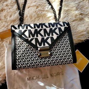 Michael Kors Black & White Monogram Whitney Bag
